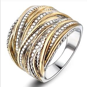 Wideband Two Tone Gold Plated Silver Ring
